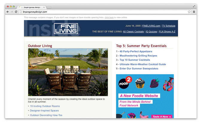 Inside Fine Living email newsletter